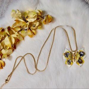Rhinestone Butterfly Necklace